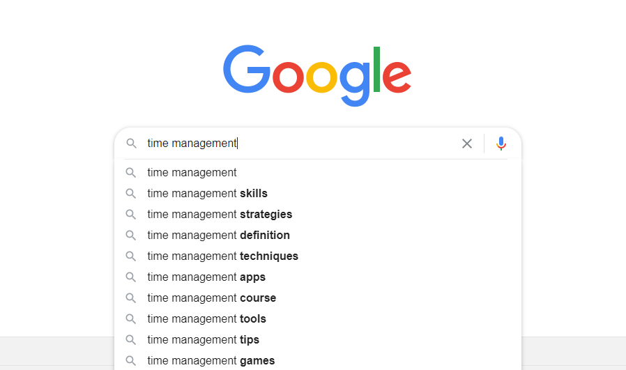 Google predictive search screenshot